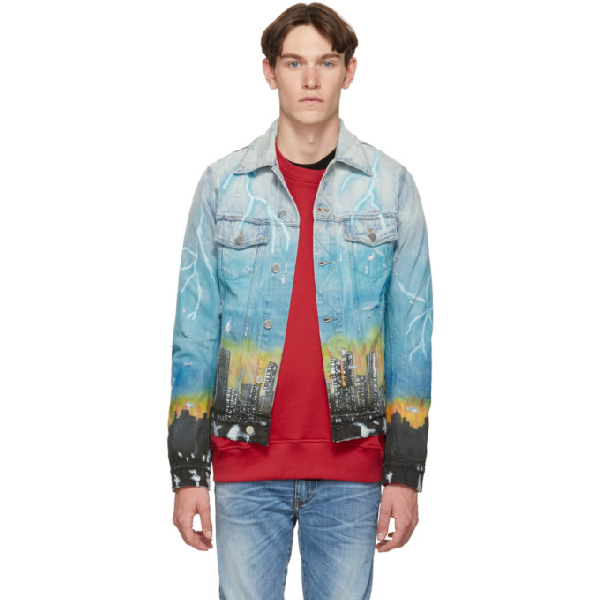 Amiri City Dragon Print Denim Jacket - 蓝色 In Blue