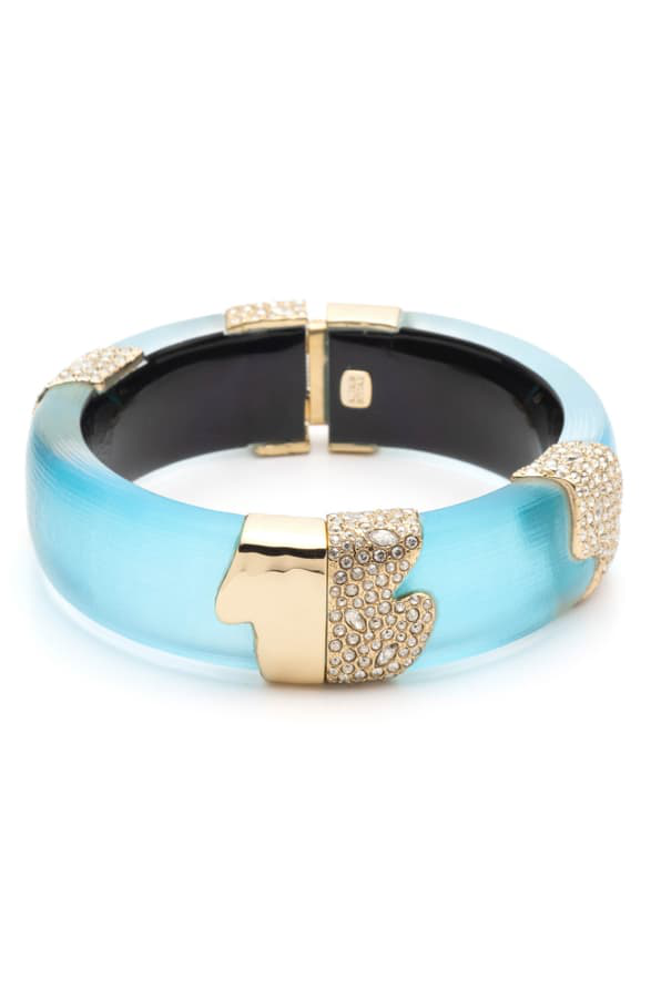 Alexis Bittar Crystal Encrusted Sectioned Hinge Bracelet, Turquoise In Light Turquoise