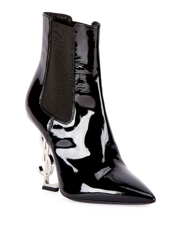 1cf754e355b Saint Laurent Opyum Patent Booties With Monogram Ysl Heel, Black/Silver