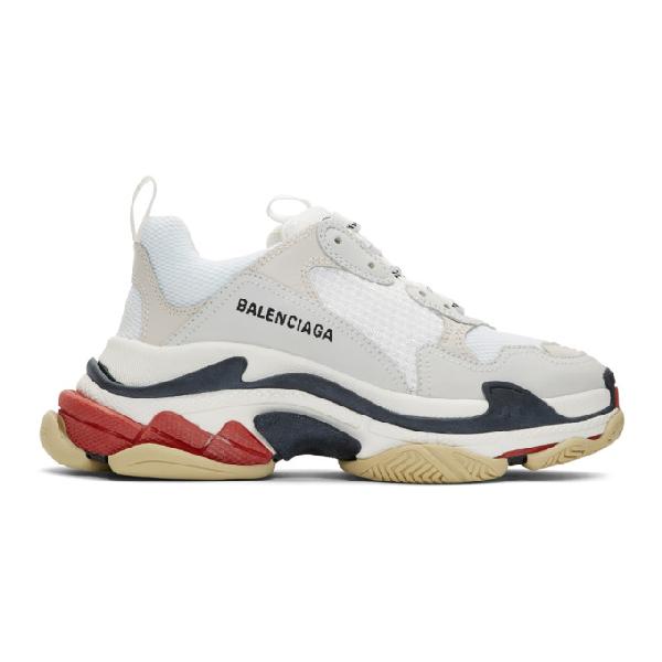 Balenciaga White Men's Red And Black Detail Triple S Sneakers