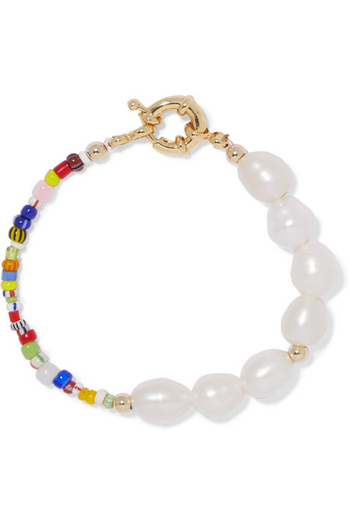 Eliou Thao Gold-plated, Pearl And Bead Bracelet