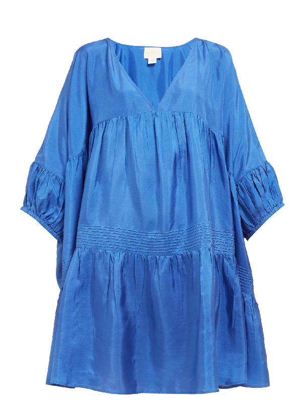 Anaak Airi Gathered Silk-satin Dress In Blue