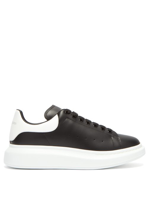 Alexander Mcqueen Mens Black And White Show Leather Platform Trainers In Black White