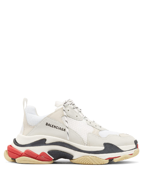Balenciaga Triple S Mesh, Nubuck And Leather Sneakers In White