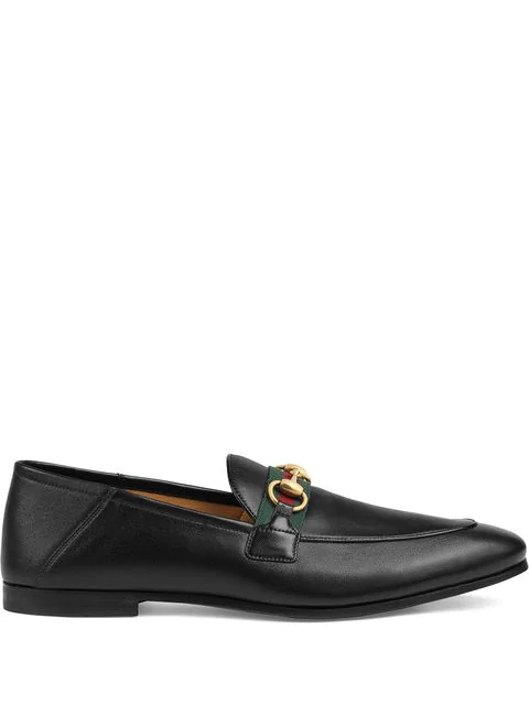 Gucci 'brixton' Web Stripe Horsebit Leather Step-in Loafers In Black