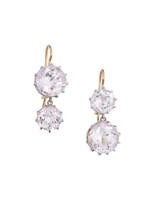 Renee Lewis 18k White & Yellow Gold & Kunzite Drop Earrings In White Gold