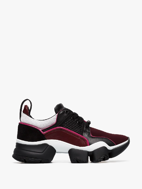 Givenchy Jaw Leather And Neoprene Sneakers In Burgundy/black
