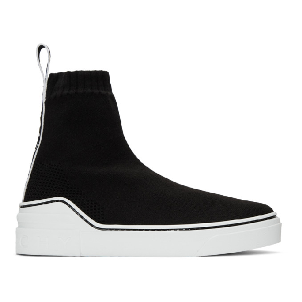 Givenchy 20Mm George V Knit High Top Sneakers In Black