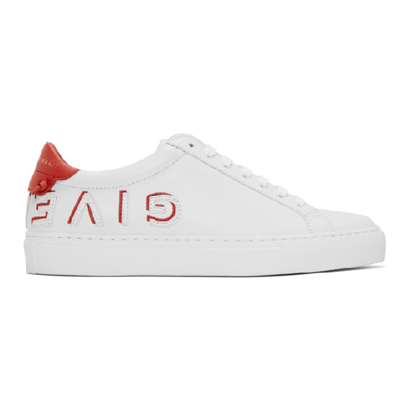 Givenchy Urban Street Reverse Logo Leather Sneakers In Red
