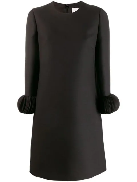 Valentino Disc-Embellished Wool-Silk Midi-Dress In 0No Black
