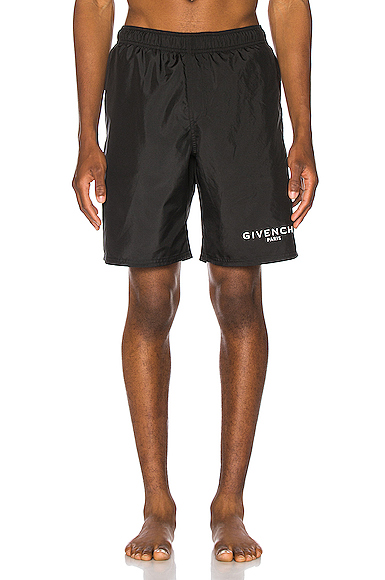 Givenchy Slim-Fit Long-Length Logo-Print Swim Shorts In Black
