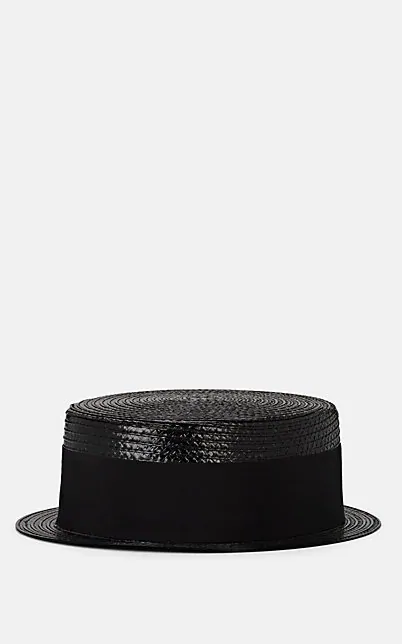 Saint Laurent Cotton-Faille Trimmed Coated Faux Raffia Hat In Black