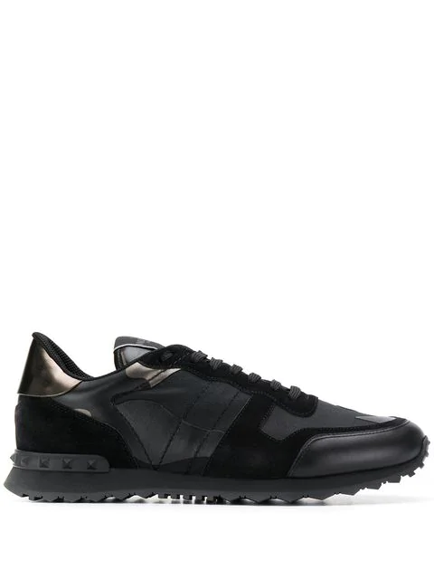 Valentino Noir Rockrunner Leather-Blend Camo Sneakers In E43 Nero-Dar