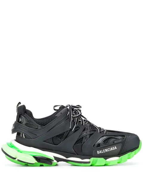 Balenciaga Black Men's Black And Green Track Sneakers