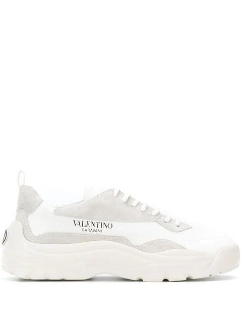 Valentino Low-Top Sneakers S0B17 Calfskin Suede Logo White