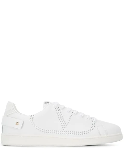Valentino Garavani Garavani Backnet Perforated Leather Sneakers In White