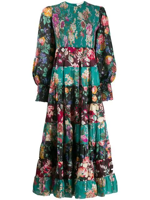 Zimmermann Allia Floral-print Long-sleeved Silk-satin Maxi Dress In Green