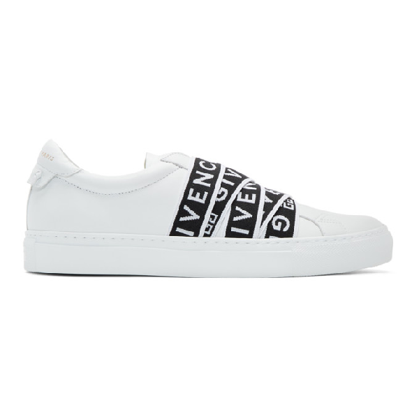 Givenchy Urban Street Logo-jacquard Leather Slip-on Sneakers In 116-wht/blk
