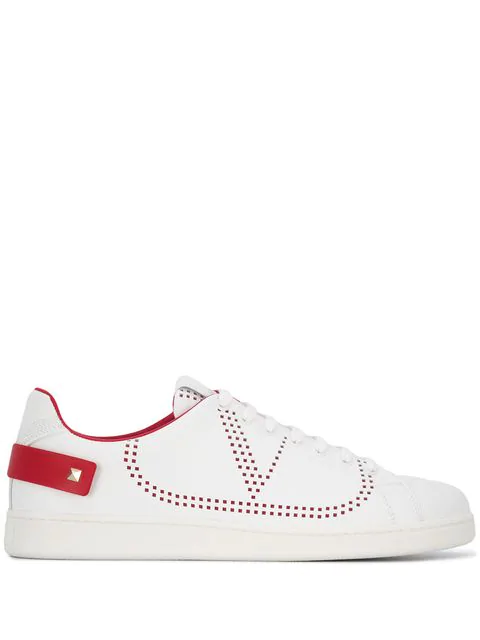 Valentino Backnet Sneakers In White And Red With Perforated Logo