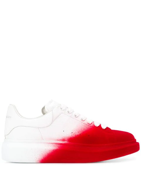 Alexander Mcqueen 'Oversized Sneaker' In Colourblock Flocked Leather In 9092 Opti White/Red