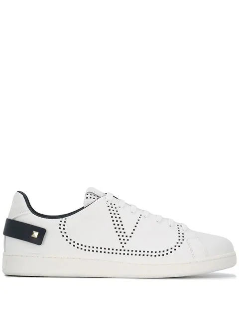 Valentino Garavani Low-top Sneakers Backnet Calfskin Logo Rivets Marine White