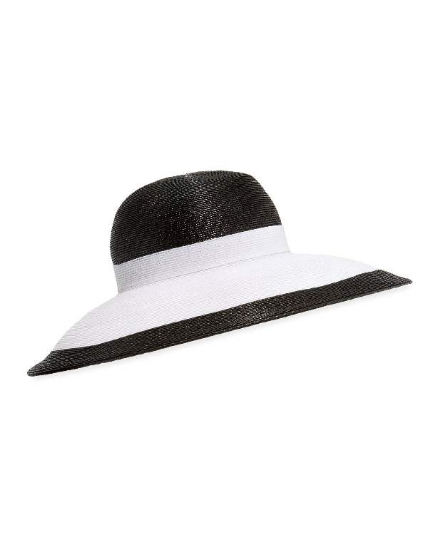 18f77d9f13a6d Kokin Joan Two-Tone Lacquered Straw Structured Hat In White Black ...