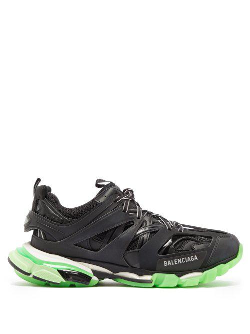 Balenciaga Black Men's Black And Green Track Sneakers In Black/glow