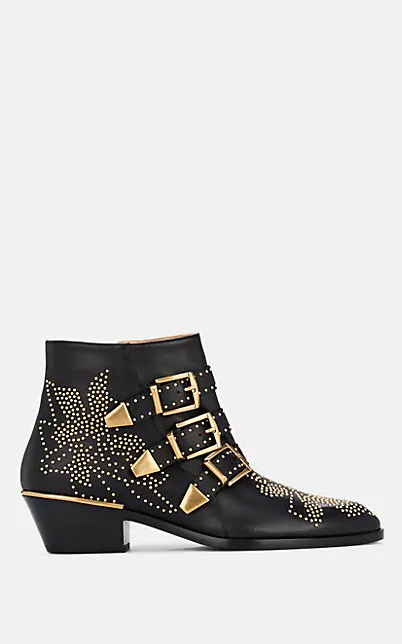 ChloÉ Women's Susan Pointed Toe Studded Leather Booties In Black