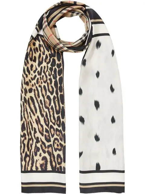 Burberry Vintage Check And Animal Print Silk Scarf In Neutrals ,neutral