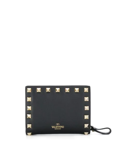 Valentino Garavani Black Garavani Rockstud Leather Wallet