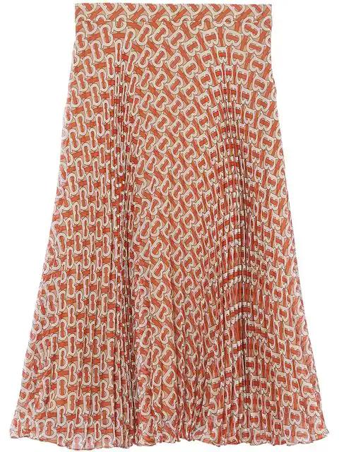 Burberry Monogram Print Chiffon Pleated Skirt In Red