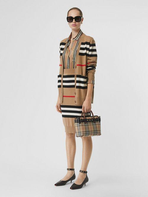 Burberry Scioto Iconic Stripe Merino Wool Cardigan In Archive Bei