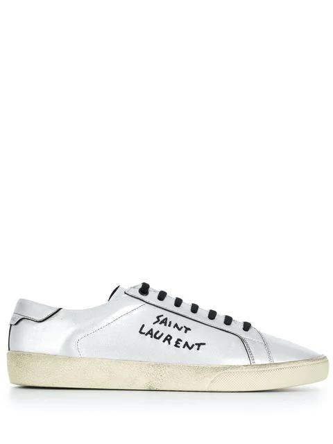 Saint Laurent 银色 Court Sl/06 做旧经典款运动鞋 In Nickel