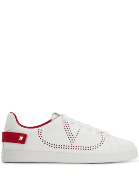 Valentino Garavani Low Sneakers With Go Logo Detail In White And Red Leather