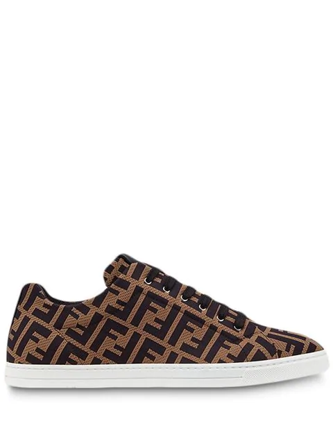 Fendi Leather-trimmed Logo-jacquard Mesh Sneakers In Brown ,black