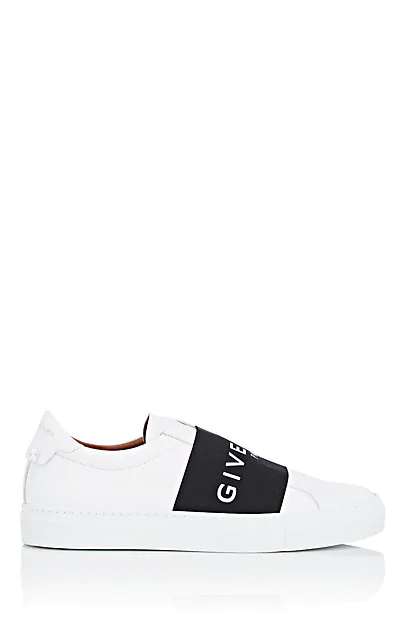 Givenchy Urban Street Logo-Print Leather Slip-On Sneakers In Wht.&Blk.