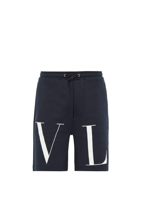 Valentino Logo-Print Cotton Loop-Back Jersey Shorts In Navy