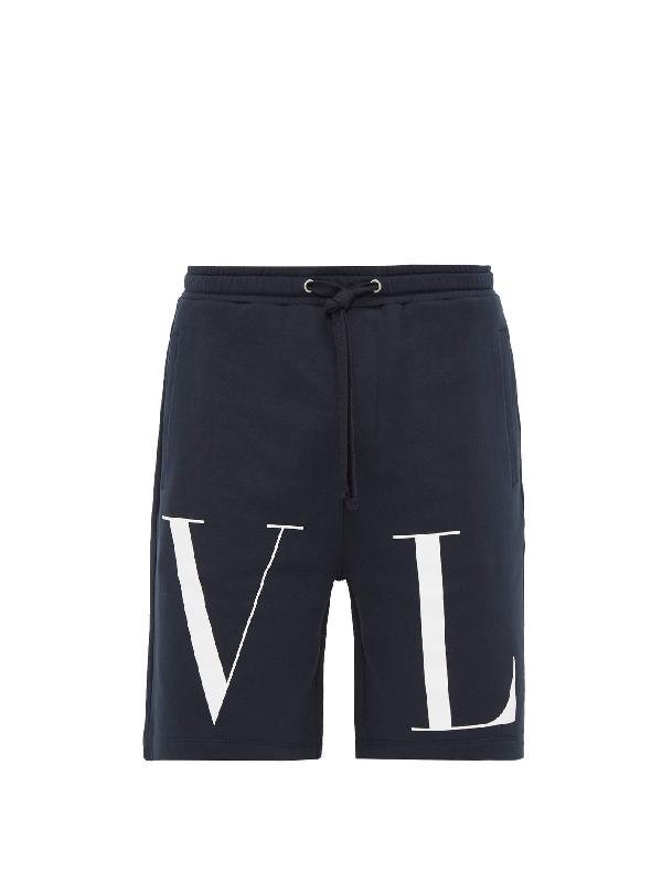 Valentino Logo-print Cotton-blend Jersey Shorts In Navy