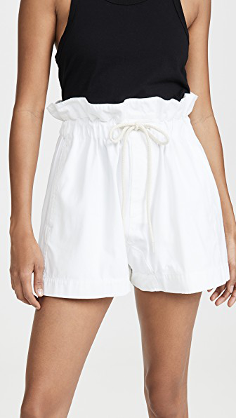 Bassike Canvas Paper Bag Relaxed Shorts In White