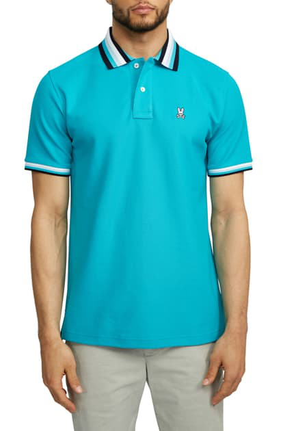 Psycho Bunny Coniston Tipped Pique Polo In Bluebird ModeSens