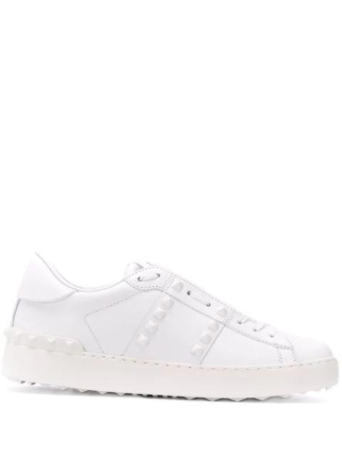 Valentino Garavani 20mm Rockstud Untitled Leather Sneakers In White/white