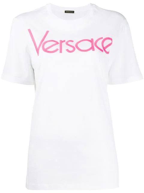 Versace Embroidered Vintage Logo Loose Fit T-Shirt In A2060 White