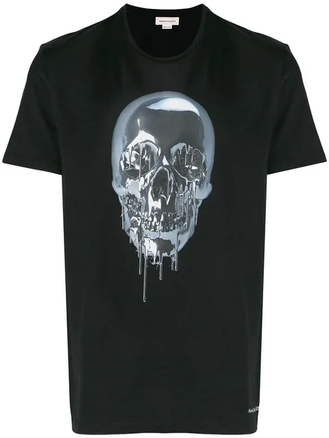 Alexander Mcqueen Men's Melting Metal Skull Graphic Short-sleeve T-shirt In 0901 Black/mix