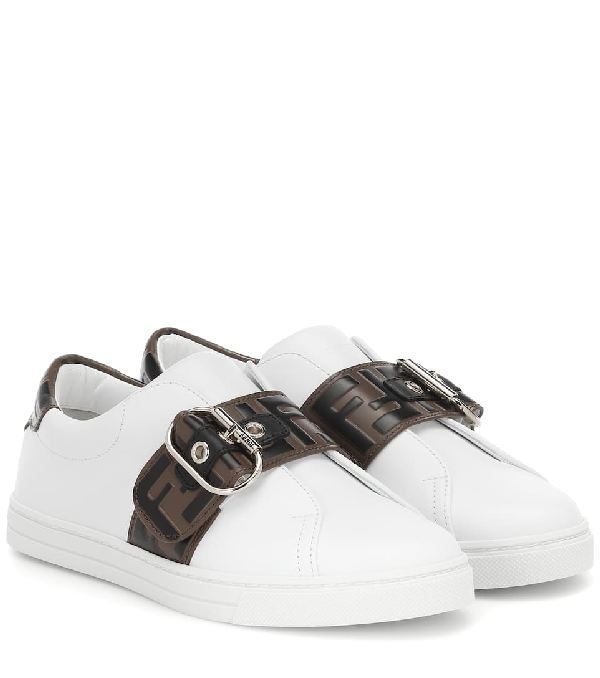 Fendi Jewel Buckle Logo Belt Leather Sneakers In White