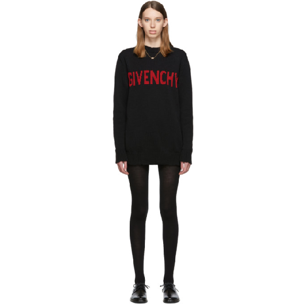Givenchy Intarsia Logo Cotton Knit Sweater In 009 Red