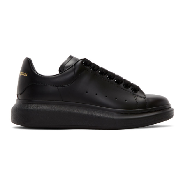 Alexander Mcqueen Show Leather Platform Trainers In Black