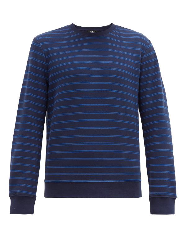 A.p.c. Marceau Cotton Loop-back Sweatshirt In Blue