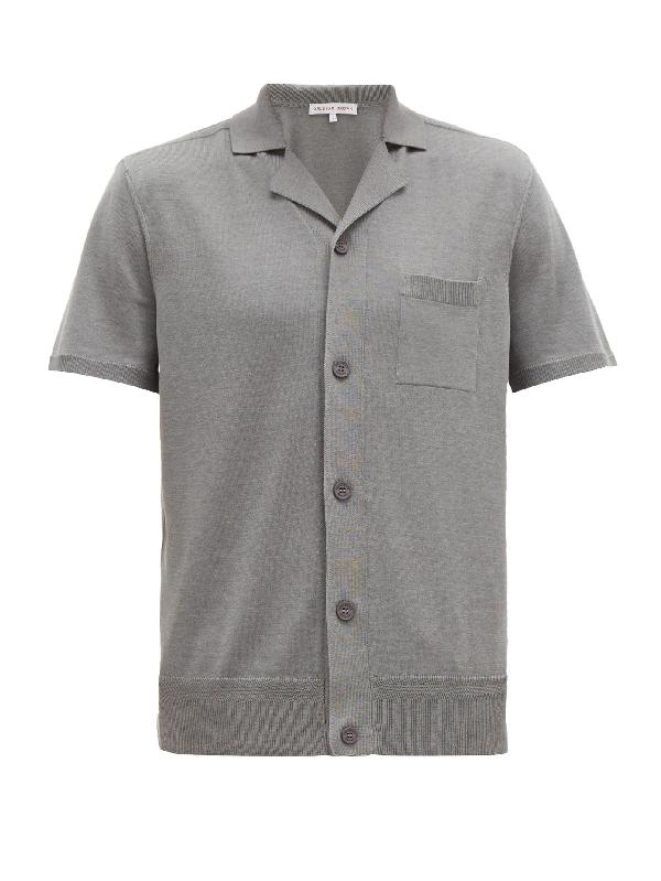 Orlebar Brown Men's Colman Cotton/silk Button-down Shirt In Grey-mÉlange