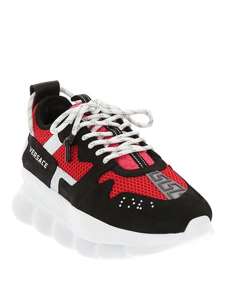 Versace Men's Runway Chain Reaction Colorblock Sneakers In Black