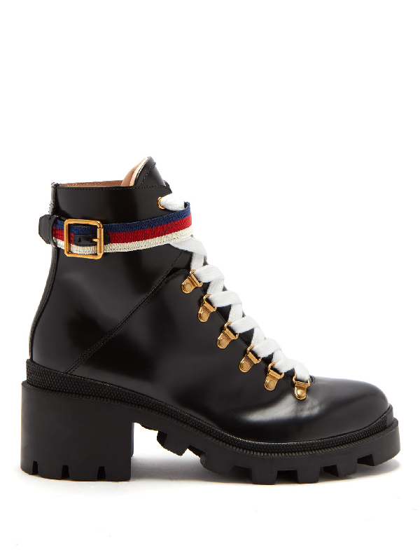 Gucci Lace Up Ankle Boots Trip Calfskin Black